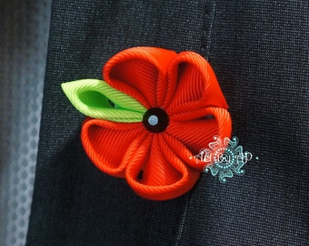 Red Poppy Brooch with light green leaf, Pin, Fabric  (handmade)
