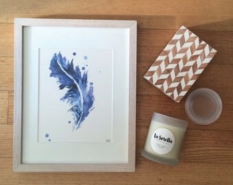Feather // Blue 'Birds of a Feather' Framed Print // Wall Art