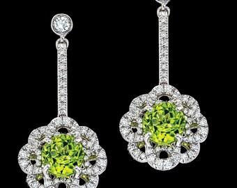 Flower Drop Diamond&Peridot Earrings