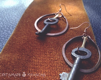 Foxbone Skeleton Key Copper Earrings