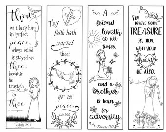 Bible Verse Bookmarks on Peace and Love B/W Color Your Own Print and Cut