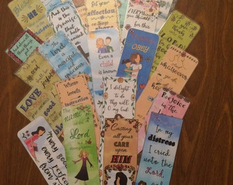 Bible Verse Bookmark - Qty:10, your choice of design- handmade and handlaminated with tassels