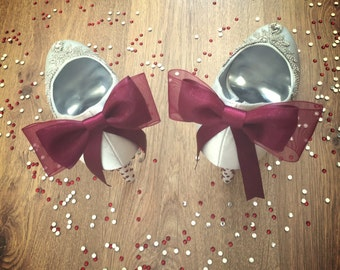 Ivory or White Rhinestone Trim & Bow Heels