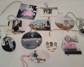 Hand Colorized Glittered Black and White Vintage Photograph Gift Tags - 12 pack