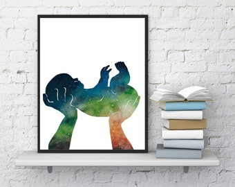 Mother and baby print, Watercolor art, Modern wall decor, Gift for her, Baby print, Illustration art, Silhouettes print, InstantDownloadArt1