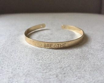 Breathe gold bangle, boho babes