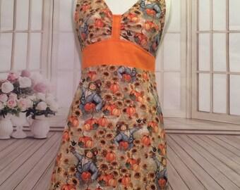 Women's apron, Fall apron, Autumn apron, scarecrow apron, pumpkin apron, sunflower apron, cute apron, kitchen apron, AmorysAprons