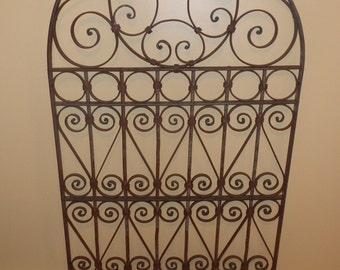 Vintage Blacksmith Forged Old World Arch Top Wrought Iron Gate