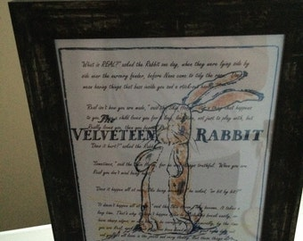 Velveteen Rabbit 'What is real?' A4 Framed Print