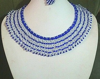 crystal white and blue necklace and earrings
