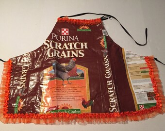 Chicken feed bag apron, child