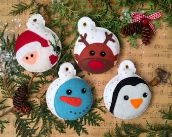 Tree ornaments-Felt Ornaments-Decor-Christmas tree ornaments-Snowman-Santa-Penguin-Reindeer  Christmas gifts Set of 4 ornaments