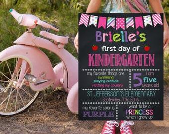 Kindergarten School Signs, First Day Of Kindergarten, Back To School Signs, Printable Photo Prop, Chalkboard Poster, Starting School Signs