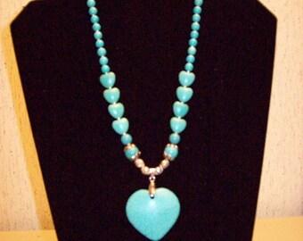 Howlite Heart Necklace & Earrings