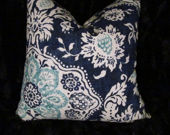 Sale!!! Navy floral Pillow Cover with hidden zipper-navy off-white light blue floral pillow cover