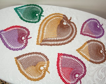 Crocheted doily/colored doily/table decoration/doily looks like tree leaves/nice home decoration/perfect Christmas gift