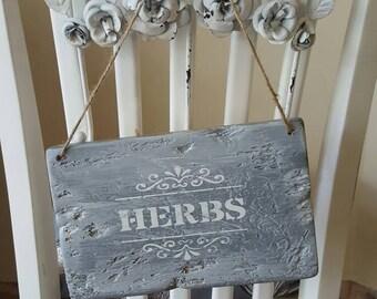 Handcrafted herb garden plaque