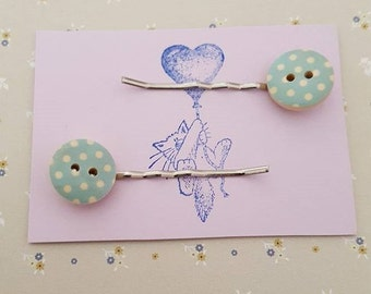 Handmade wooden button bobby pins - set of two 15mm blue and cream wooden button bobby pin hairclips