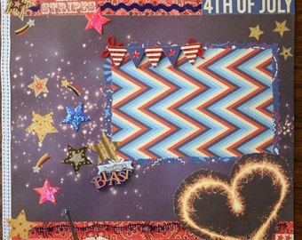 12x12 Country Glamor 4th of July premade Scrapbook page