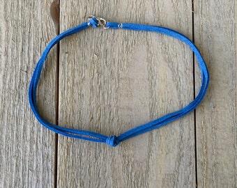 Blue suede knot choker