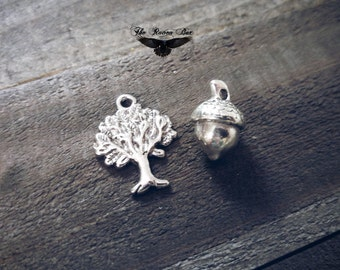 Tree and Acorn Charms Antiqued Silver