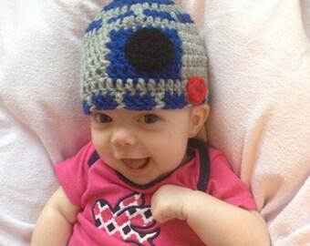 R2D2 baby hat crochet pattern