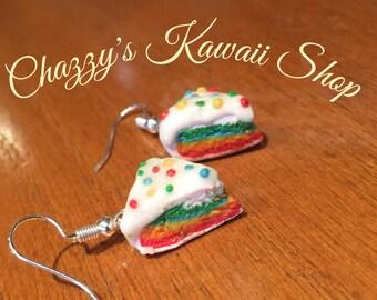 Kawaii Rainbow Cake Earrings.