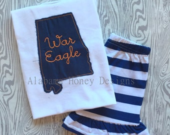 War Eagle State- Raggy Edge Short Sleeve Tee