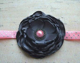 Girl headband- charcoal headband - pink baby headband - baby headband - newborn headband - baby girl gift- photo shoot headband