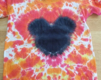 Tie Dye Shirt Youth Small- Tie dye child shirt, Mickey Mouse tie dye, red, orange and black tie dye shirt