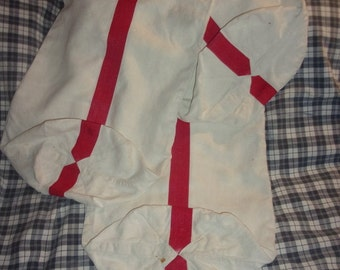 3 old, linen bread bags red stripes for reuse or paper