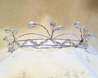 Elegant fern and swag genuine crystal tiara or choker