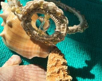 Crochet Beaded Silver Bangle