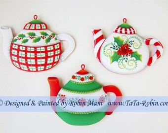 310 Christmas Teapots, Decorative Painting Pattern Packet, Instructions Pattern Worksheet, DecoArt Acrylics, Holly, Berries, DIY, Ornament