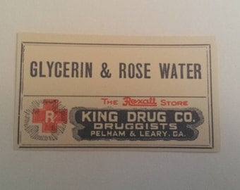 Antique Pharmacy Label, Glycerin & Rose Water Apothecary Label, Apothecary, Labels, Pharmacy, Old Medicine, Vintage,  ***Free Shipping***