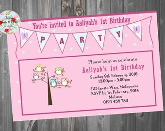 Cute owls in tree with bunting flag birthday invitation for girl