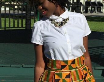 Ankara African Print Skirt, High Waist, Below Knee Length