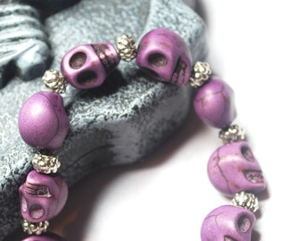 Skull bracelet, homemade jewellery with purple howalite skulls.