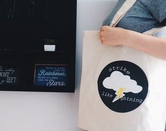Tote bag strike like lightning