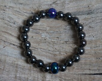 Pearl bracelet anthracite and black beads 2178