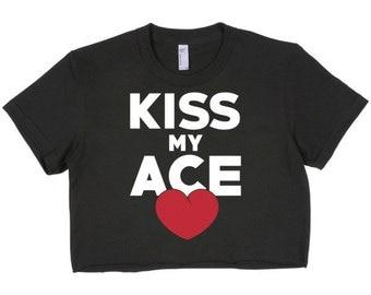 Short Sleeve Crop Top Ace Heart For Women