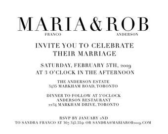 Modern Minimalistic Black and White Wedding Invitation
