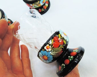 Wine glasses - Whiskey/sherry goblets - Glasses for drinks - Hand painted floral wooden shot glass