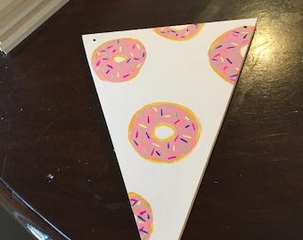 Hand painted doughnut wood triangle