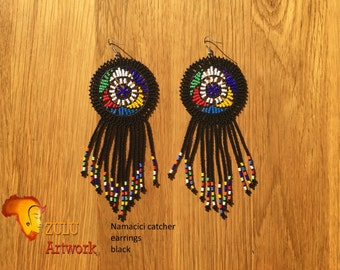 Namacici catcher black- ZULU beaded earrings