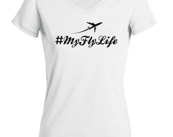 Women's V-neck T-shirt #MyFlyLife