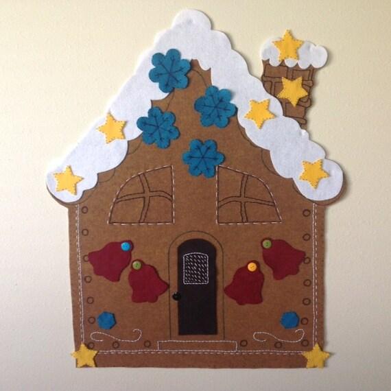 Kids christmas activity felt gingerbread house pattern for Felt christmas crafts for kids