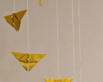 Yellow Origami Butterfly Mobile