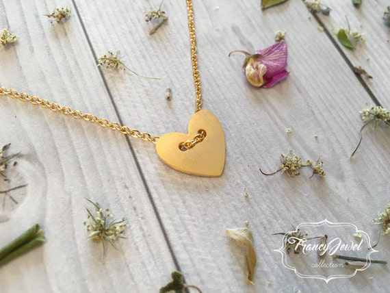Heart necklace, gold necklace, friendship necklace, love necklace, heart pendant, minimalist jewelry, wedding gift, bridesmaid gift