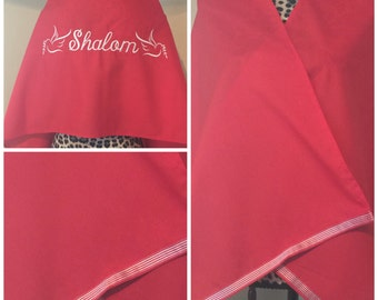 Red Embroidered Transitional Shawl (Prayer Shawl)